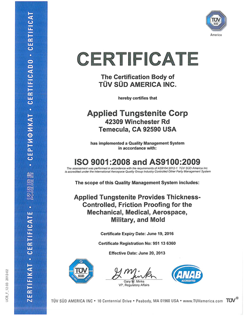 Applied Tungstenite: AS9100 Certification: Tungsten Disulfide WS2 ...